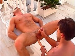Stud banged with a thick dildo outside